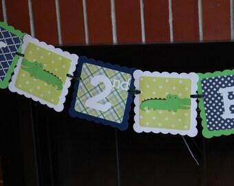 Alligator Birthday, Happy 2nd Birthday, Gator Party, Gator Birthday, Alligator Banner, Alligator Birthday