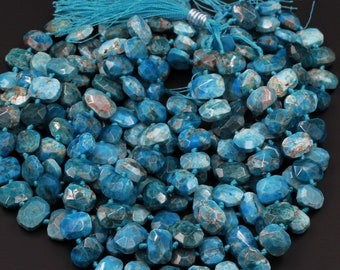 """Natural Blue Apatite Faceted Rectangle Cushion Pillow Puffy Nugget Beads Teal Blue Gemstone Designer Beads Unique Gem Cut 16"""" Strand"""