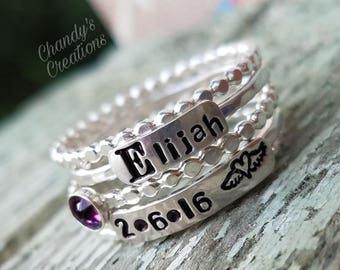 3mm Name, Sterling Silver, Birthstone, Ring, Stackable, Layered, Name, Hammered, Beaded, Stack, Date, Spacer, Remembrance, Stamped, Engraved