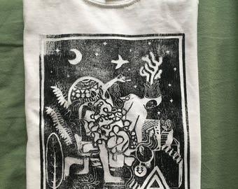 8 x 10 linocut print shirt, white