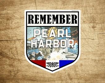 """Remember Pearl Harbor Hawaii Sticker Decal Vinyl 4 1/4"""" X 3 5/8"""" Indoor Outdoor"""