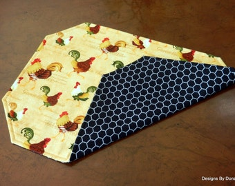 One or More Quilted Place-mats, Reversible, French Roosters on Yellow and White Chicken Wire on Black, Handmade Table Linens