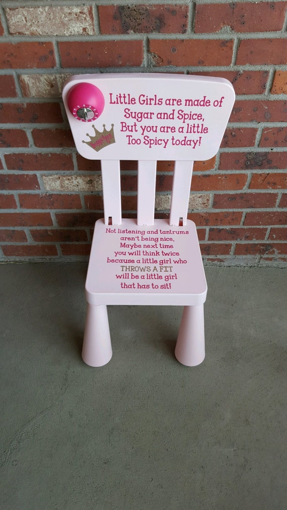 Charming Personalized Girls Sugar And Spice Time Out Chair With Timer