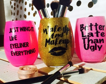 Make up brush holder, glitter make up brush holders, make up artist, make storage, makeup brush storage, glitter brush holder, make up sayin