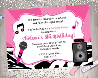 Karaoke Party Birthday Invitation -  DIY Print Your Own - Matching Party Printables Available