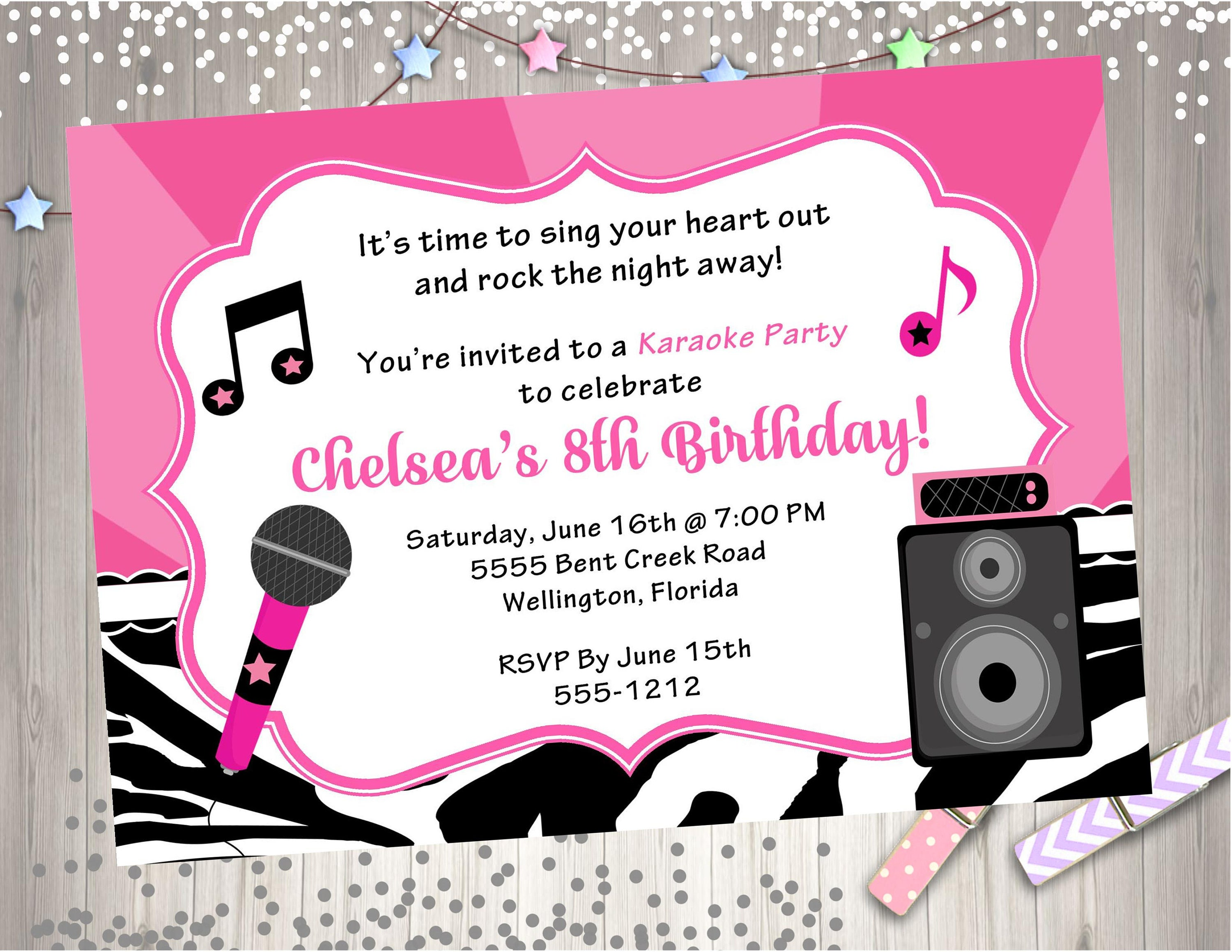 Karaoke party birthday invitation diy print your own zoom monicamarmolfo Image collections