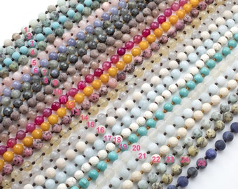 NEW COLORS!!! Long Knotted - Preknotted Necklace-  Assorted Gemstones-8mm 32-36 inches Long- Ready to wear- Long Necklace - Selection B