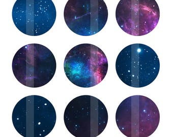 Stars Bottlecap Images, Space Digital Images for Bottle Cap Pendants, Astronomy 1 Inch Circles, Digital Collage Sheet