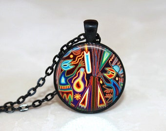 Glass Tile Necklace Mayan Jewelry Glass Tile Jewelry Black Necklace Black Jewelry Indian Necklace Indian Jewelry Silver Jewelry