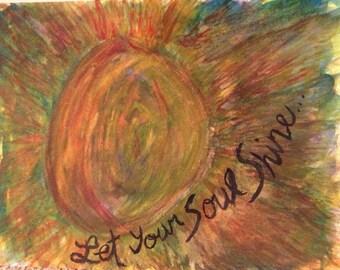 Let Your Soul Shine Watercolor Sun Painting