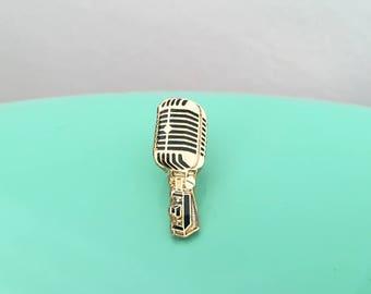 Vintage Microphone Enamel Pin (Gold)