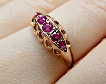 Antique Art Deco Ruby 9ct Gold Engagement Ring Chester 1917, Antique Ruby July Birthstone Wedding Half Eternity Boat Ring, Yellow Gold Ring