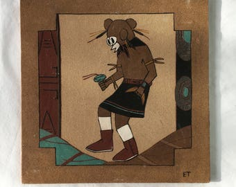 "Vintage 12"" x 12"" Native American Kachina Sandpainting, Southwestern Navajo Art"
