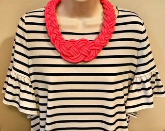 Fuchsia Hot Pink Nautical Knotted Rope Knot Statement Necklace