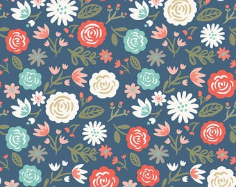 1 Yard Heart and Soul by Deena Rutter and Seek Good Works for Riley Blake Designs - 6700 Navy Heart Main