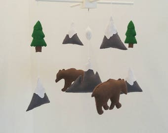 Mountains, bears and fir trees mobile, woodland baby mobile, mountain baby mobile