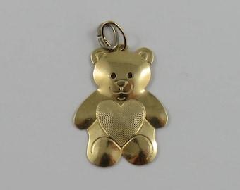 Teddy Bear With Heart Chest 14K Gold Vintage Charm For Bracelet