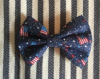 american flag bow / 4th of july hair bow / patriotic headband / baby hair bow / infant headband / toddler bow clip / american flag bow tie