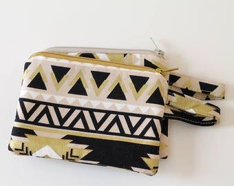 Coin pouch, Minimalist pocket wallet, Change purse, cash wallet, mini zipper pouch, earbud case, aztec fabric gold black, western bag