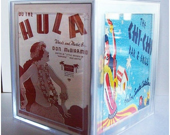 retro hula tissue box cover vintage Hawaii pin up girl rockabilly tissue dispenser tiki kitsch