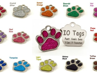 Personalized Etched Glitter Paw Print Dog ID Tag // Dog Name Tag
