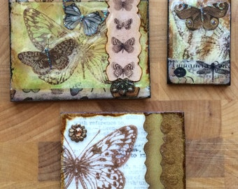 Art Tile Mosaic Collage Butterflies Moths Dragonflies Insects Mini Embellishment Scrabble Tiles Mixed Media