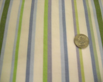 Cotton fabric with woven twill stripes  blue green lavender