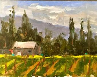 California Plein Air Landscape Oil Painting Original Wall Art Kunde Winery Vineyard Gift Idea Kenwood California Artist USA Made Artwork