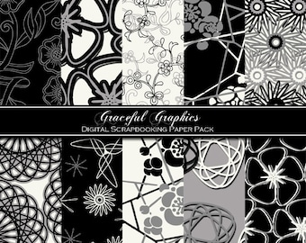 Scrapbook Paper Pack Digital Scrapbooking Background Papers Modern Pack French Black White Gray Flowers Swirls 10 8.5 x 11 Sheets 1055gg
