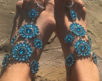BLUE CRYSTAL Barefoot Sandals Beach Sandals Anklet Foot Jewellery