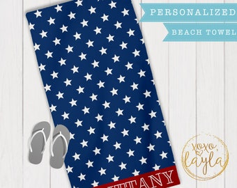 Beach towel, beach towels personalized, beach towel monogram, United States, beach towels for 4th of July, fourth of July, Independence Day