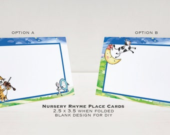 Nursery Rhyme Baby Shower Place Cards, Hey Diddle Diddle, Cat and the Fiddle, Printed Place Cards, Cow Jumped Over the Moon, Shower Cards