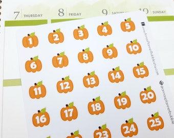 Date cover stickers, planner stickers, pumpkin stickers, autumn/ fall stickers, cover ups, number stickers for Erin Condren & Happy Planner