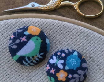 Needle Minder, Bird, Butterfly, Flower, Scout and Remy 2 Piece Reversible, for Cross Stitch, Sewing, Embroidery,Needlepoint, Quilting