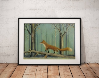 Red Fox Print, Woodland Art, Forest Print, Animal Print, Fox Art, Fox Painting, Nature & Wildlife, Animal Wall Art, Whimsical Art