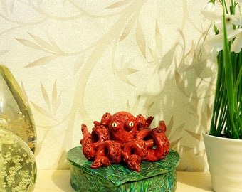Octopus Statue, Octopus Box, Trinket Box, Jewelry Box, Keepsake Box, Fimo Box, Polymer Clay Box, Storage Box, Gift Box, Octopus Ornament