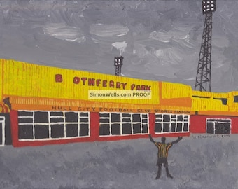 Hull City, Boothferry Park: Limited edition A6 postcard of Original acrylic painting art of Boothferry Park, Hull City. Kingston upon hull