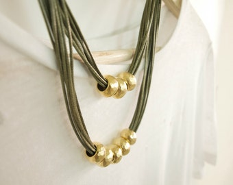 Bold Necklace, Gold Beads, Statement Necklace, Geometric Necklace, Multi Strand Necklace, Long Necklace, Gold Statement Necklace