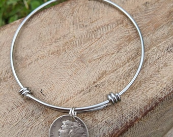Coin bracelet - Mercury dime jewelry - authentic silver dime jewelry -  Adjustable bangle bracelet - Vintage coin jewelry