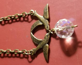 Gorgeous brass sparrow and vintage crystal necklace