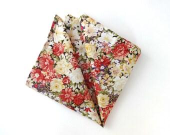 Floral Pocket Square, Mens Pocket Square, Wedding Pocket Square, Flower Pocket Square, Handkerchief