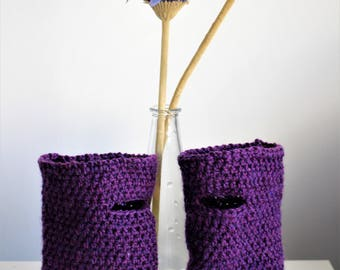 Handmade Crochet Wristwarmers - block colour