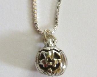 Sterling Silver Happy Pumpkin Necklace