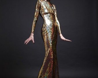 Gold Holographic Long Sleeved Swan Necked Maxi Gown with Train, available in gold or any color of your choice