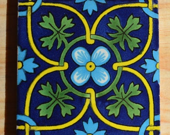 "90 Mexican Talavera Tiles.Hand painted 4 ""X 4"""