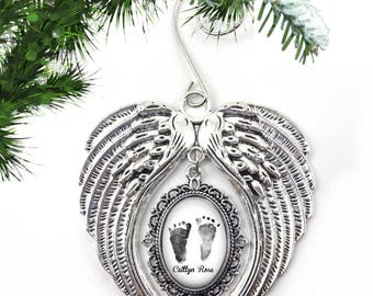 Custom Baby Photo Footprint Christmas Tree Ornament - Personalized Baby Foot Print Ornament - Silver Angel Wings Heaven Ornament