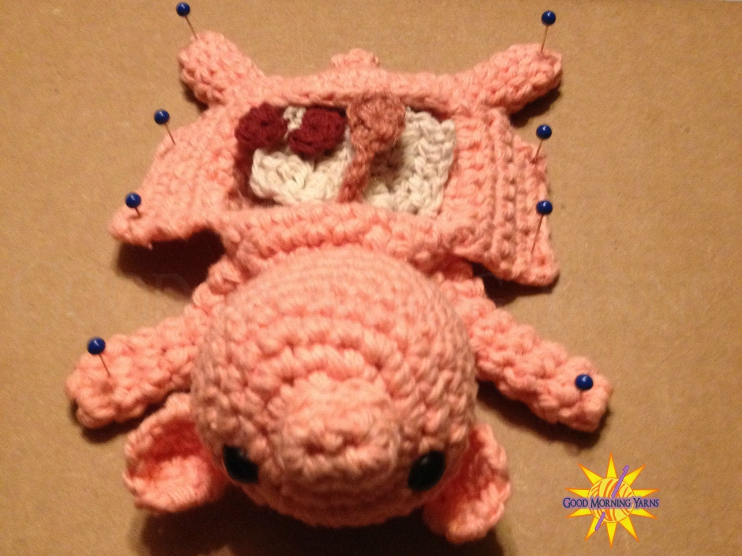 Dissected Fetal Pig with Removable Organs Crocheted Amigurumi