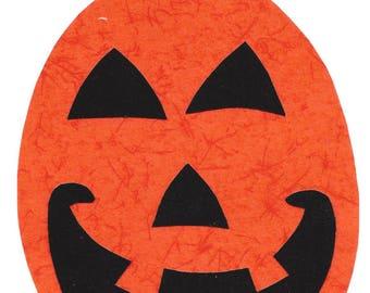 Halloween pumpkin /  jack-o-lantern iron applique DIY - size large