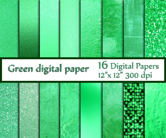 Mint Digital Paper METALLIC GREEN PAPER Green Textures Glitter Background Foil From ChiliPapers On