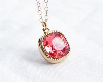 Swarovski Cushion Cut Padparadscha Necklace. Valentnes Day Gift. Bridesmaid Gift. Simple Modern Jewelry by Smallbluethings